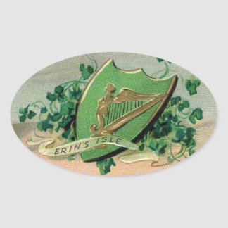 Antique Irish Crest and Clover Oval Sticker