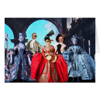 ANTIQUE ITALIAN PUPPETS MASQUERADE MASKS COSTUMES GREETING CARD