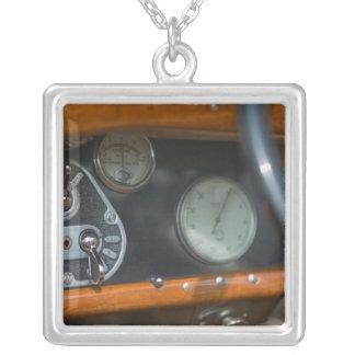 antique jaguar 2 square pendant necklace