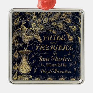 Antique Jane Austen Pride and Prejudice Peacock Silver-Colored Square Decoration