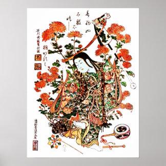 Antique Japanese Geisha Print Poster