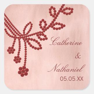 Antique Jewels Wedding Stickers, Dark Red