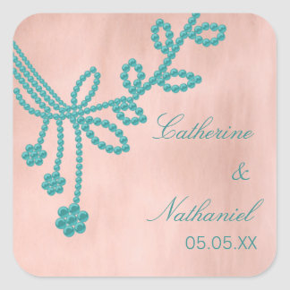 Antique Jewels Wedding Stickers, Turquoise