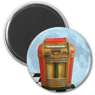 Antique Jukebox and Full Blue Moon 6 Cm Round Magnet