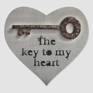 Antique key heart heart sticker