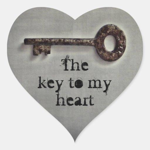 Antique key heart heart stickers