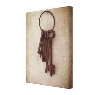 Antique Keys print on stretched canvas