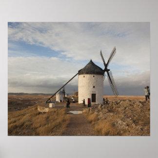 Antique La Mancha windmills, with visitors Poster