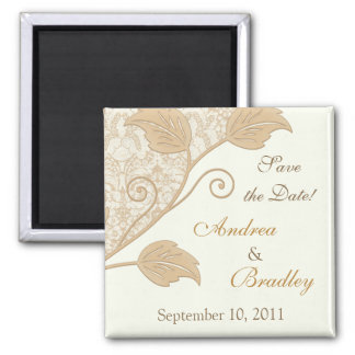 Antique Lace, Leaves Wedding Save the Date Magnet