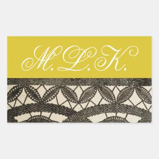 Antique Lace Monogram Rectangular Sticker
