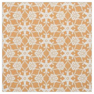 Antique lace print - orange and cream fabric