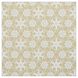 Antique lace print - white and beige fabric