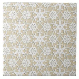 Antique lace - white and beige ceramic tile