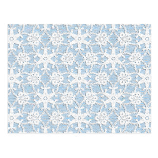 Antique lace - white and sky blue postcard