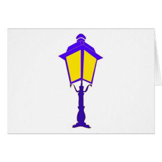 Antique lantern illuminates the darkness greeting card
