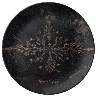 Antique Leather Book Gold Leaf Fleur-de-lis Porcelain Plates