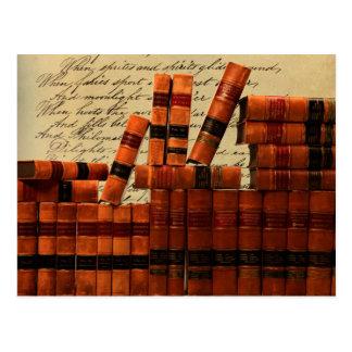 Antique Leather Books Postcard