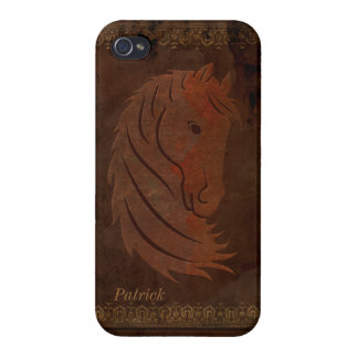 Antique Leather Look Horse iPhone 4 Case