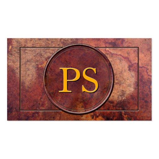 Antique Leather Monogram Business Card