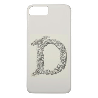 Antique Letter D Monogram Initial iPhone 8 Plus/7 Plus Case