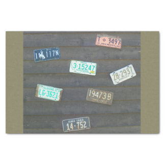 Antique License Plates Tissue Paper