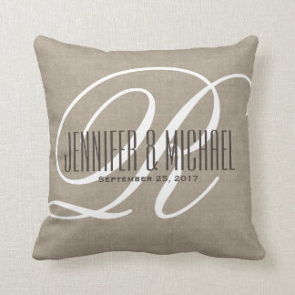 Antique Linen Look with White Monogram Throw Pillow