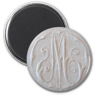 Antique Linen Monogram 'M' 6 Cm Round Magnet