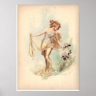 Antique Lithograph Print Iris Nymph