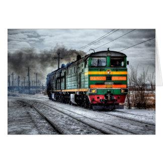Antique Locomotive Train Blank Card