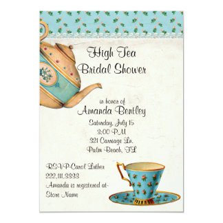 "Antique Look Bridal Shower Tea Party Invitation 5"" X 7"" Invitation Card"