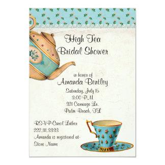 "Antique Look Bridal Shower Tea Party Invitation 5"" X 7"" Invitation Card"