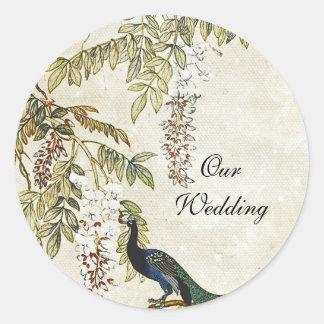 Antique Look Peacock Wedding Envelope Seal Round Sticker
