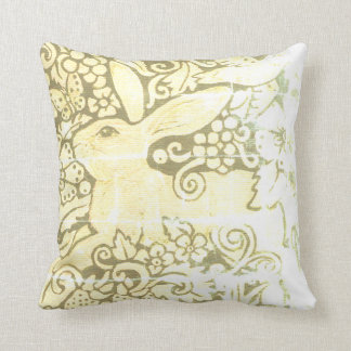 Antique Look Rabbit Pillow Green Shabby Chic Worn