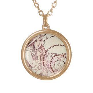 Antique Love Round Pendant Necklace