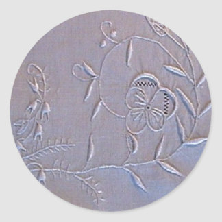 Antique Madeira Embroidered Flowers Classic Round Sticker