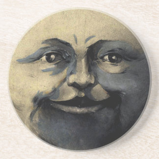 Antique Magical Moon Face Drink Coasters