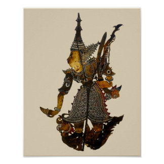 Antique Malaysian Shadow Puppet Poster