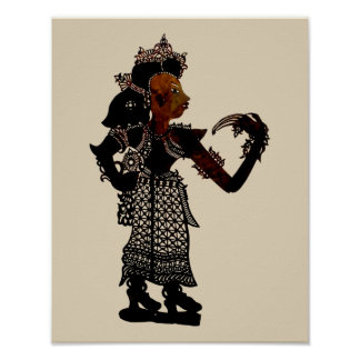 Antique Malaysian Shadow Puppet Woman Poster