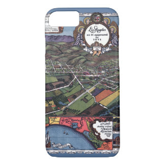 Antique Map, Aerial City of Los Angeles California iPhone 8/7 Case