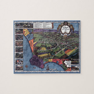Antique Map, Aerial City of Los Angeles California Jigsaw Puzzle