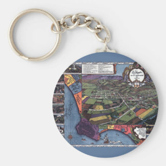 Antique Map, Aerial City of Los Angeles California Key Ring