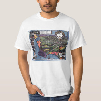 Antique Map, Aerial City of Los Angeles California T-Shirt