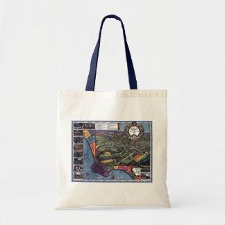 Antique Map, Aerial City of Los Angeles California Tote Bag