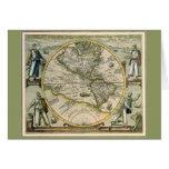 Antique Map, America Sive Novus Orbis, 1596 Greeting Card