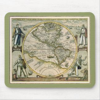 Antique Map, America Sive Novus Orbis, 1596 Mouse Pad