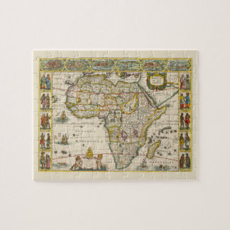 Antique Map of Africa by Hondius and Jansson Puzzle