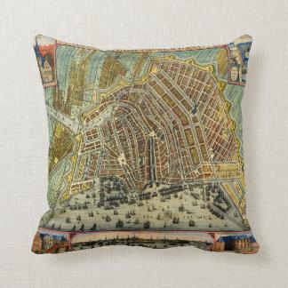 Antique Map of Amsterdam, Holland aka Netherlands Cushion