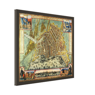 Antique Map of Amsterdam, Netherlands, Holland Canvas Print