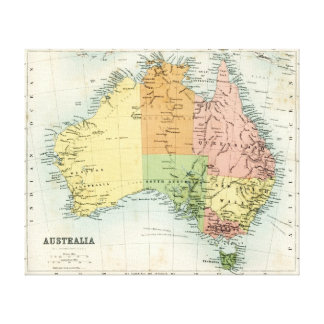 Antique map of Australia Canvas Print