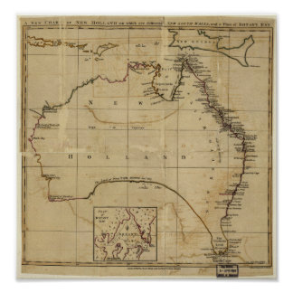 Antique Map of Australia circa 1770 Poster